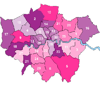 Map of London Boroughs with numbers