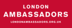Small London Ambassadors logo, white on red