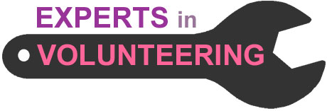 Experts in volunteering logo, a black spanner on a white background